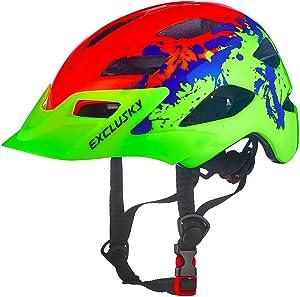 Exclusky Kids Bike Helmets Lightweight Adjustable Bicycle Cycling Helmet for Boys Girls 50-57cm(Ages 5-13)