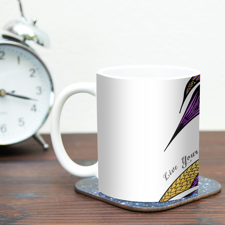 Kess InHouse Pom Graphic DesignDreams Swan Ceramic Coffee Mug 11 oz Multicolor