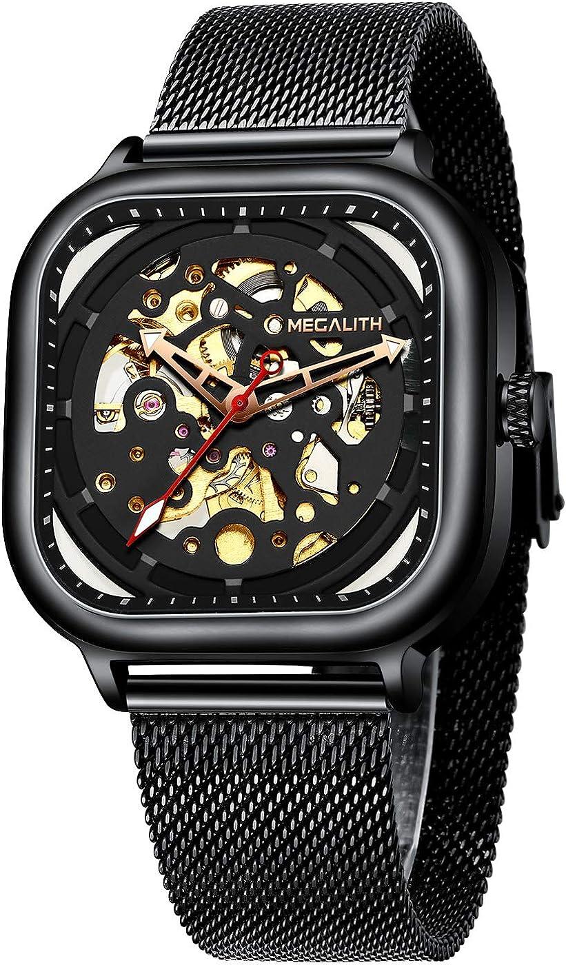 MEGALITH Relojes Hombre Relojes de Pulsera Automatico Mecanicos Militar Elegante Esqueleto Cuadrado Negro Acero Inoxidable Reloj de Malla Azul Analogicos Impermeable Diseño
