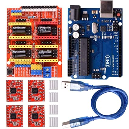 KEYESTUDIO UNO R3 CNC kit for Arduino CNC Shield V3.0 4pcs A4988 Stepper Motor Driver GRBL compatible UNO R3 ATmega328P with Usb Cable