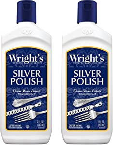 Wright's Silver Cleaner and Polish - 7 Ounce (2 Pack) Ammonia-Free - Use on Silver, Jewelry, Antique Silver