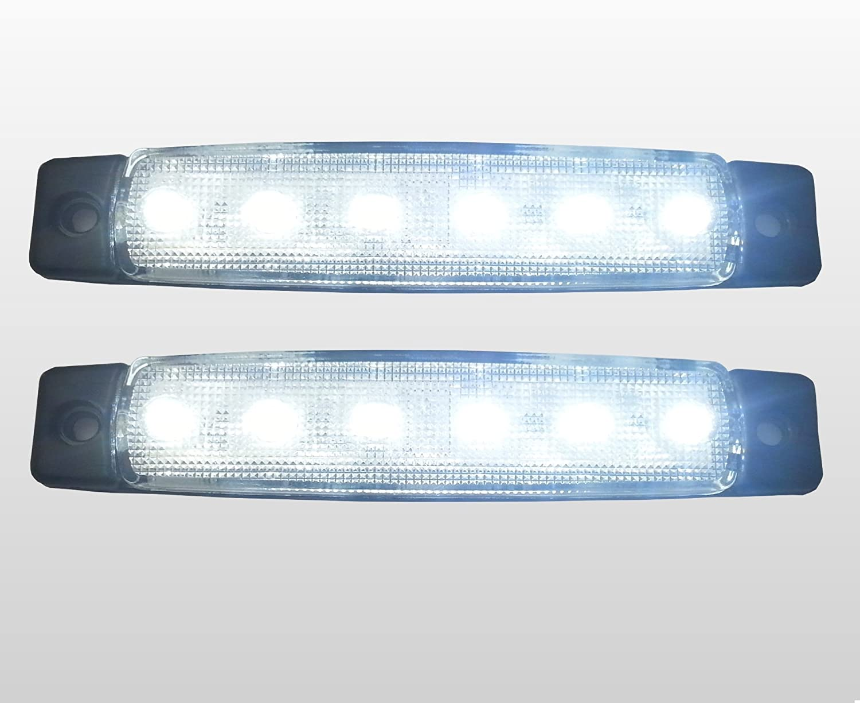 6 x 24V MARKER WHITE SIDE FRONT LED LIGHT TRAILER TRUCK LORRY CAMPER VAN BUS