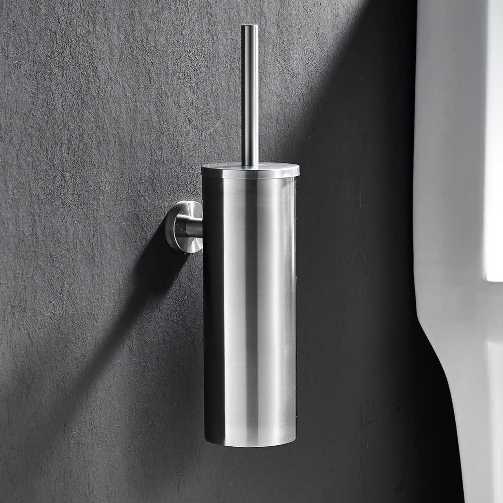 Scopini e porta scopini,Auralum/® Porta scopino WC//Porta spazzolino WC a muro per bagno in Acciaio Cromato,38.5x8.8cm,facile da pulire e minimalismo