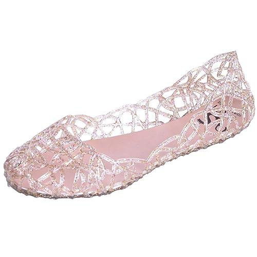 0cb92e8f4 Stunner Women s Beach Jelly Shoes Slip on Crystal Summer Soft Hollow Ballet  Flats Gold 36
