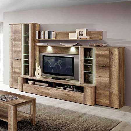 TV Pared en roble antiguo decoración iluminación (5 piezas) con iluminación Pharao24: Amazon.es: Hogar