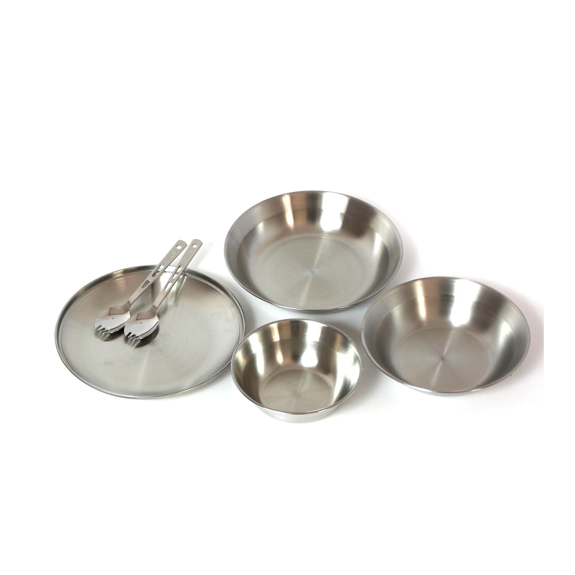 Tierra TC-0409 Stainless Steel Camping Bowl Dish Plate Spoke 6Pcs Tableware Set with Cover Outdoor Picnic Hiking Campfire