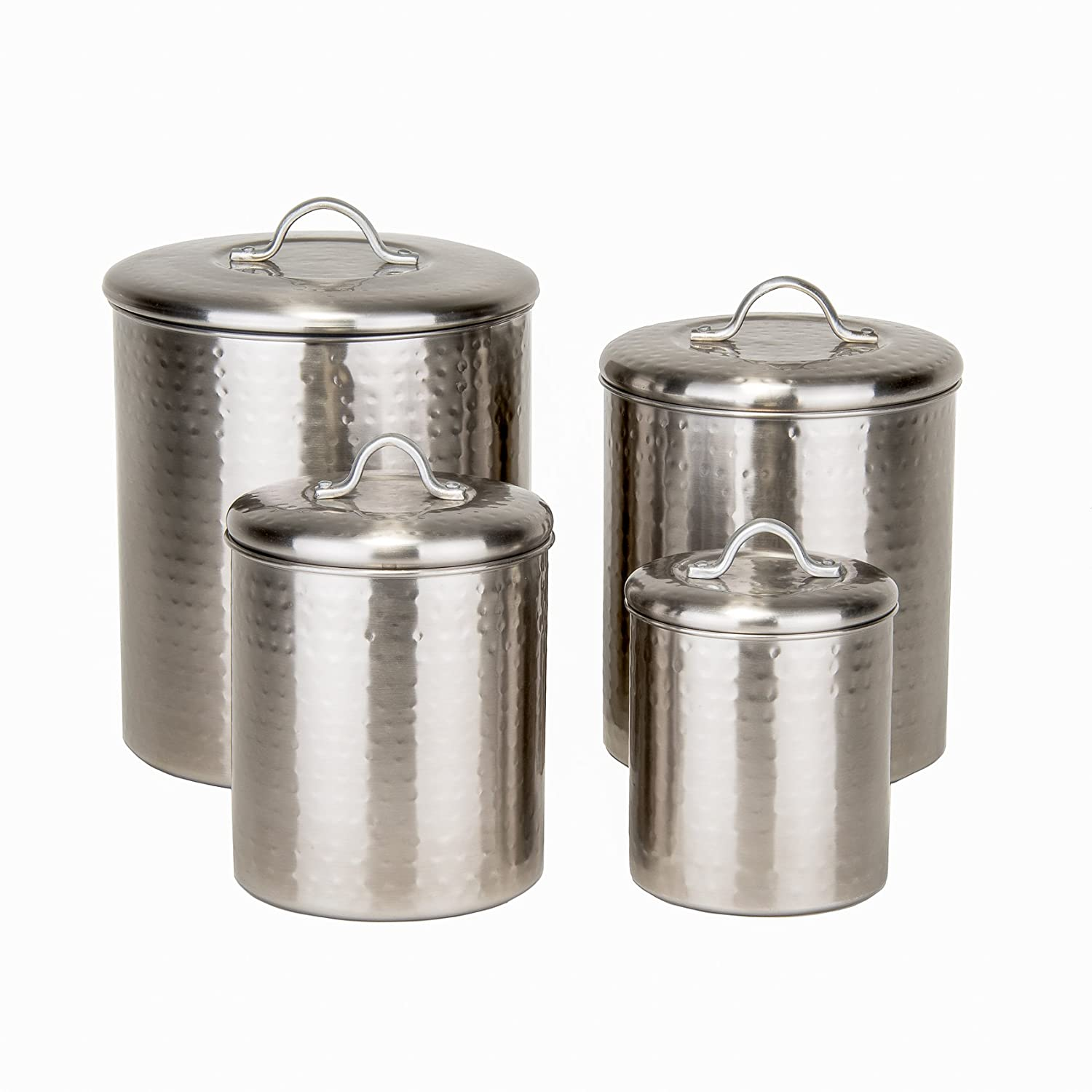 Rustic Kitchen Canisters Amazoncom Old Dutch 4 Piece Hammered Canister Set Brushed