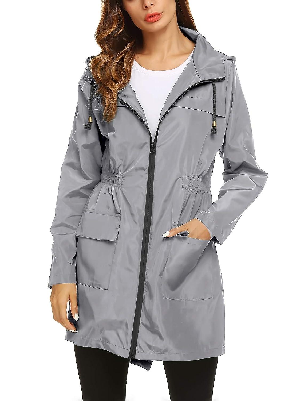 ZHENWEI Womens Waterproof Lightweight Raincoat Hooded Outdoor Hiking Long Rain Jacket
