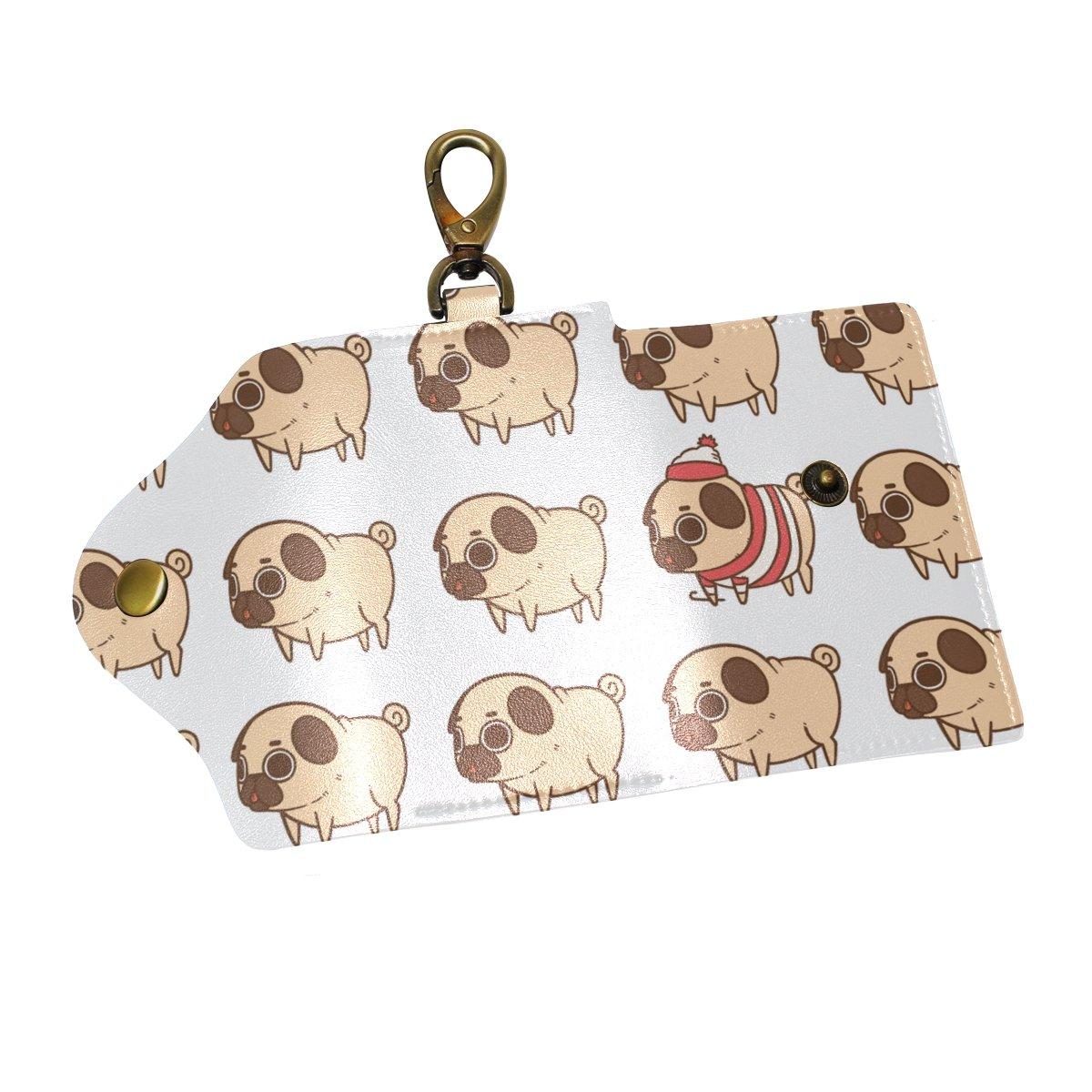 DEYYA Pug Dog Emoji Leather Key Case Wallets Unisex Keychain Key Holder with 6 Hooks Snap Closure