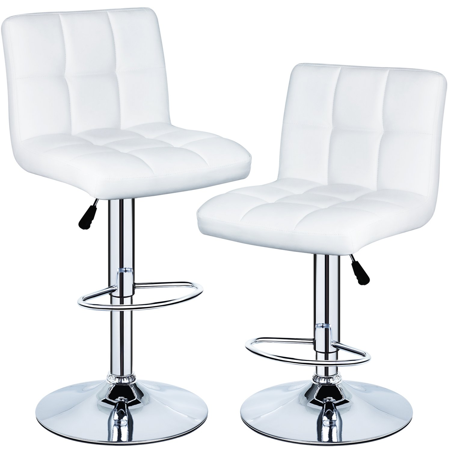 350 lbs Capacity Set of 2 PU Leather Hydraulic Swivel Gas Lift Height Adjustable Bar Stool White