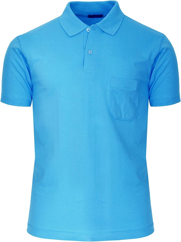 BCPOLO Men's Polo Shirt Short Sleeve 1 Chest Pocket Solid Cotton Polo Shirt