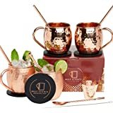[Gift Set] Mule Science Moscow Mule Copper Mugs - Set of 4 - Pure Solid Copper Mugs 16 oz with BONUS: Copper Cups with…