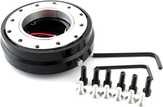 Steering Wheel Hub Adapter Quick Release Adapter Snap Off Kit with Screws Universal for 6-Bolt Steering Wheels Black