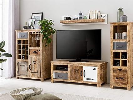 Woodkings Pune - Mueble de salón de 4 Piezas de Madera y ...