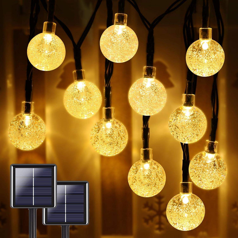 YIQU Crystal Globe Solar String Lights