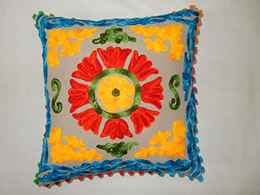 Iinfinize indio bordado a mano Suzani cojín floral funda de ...
