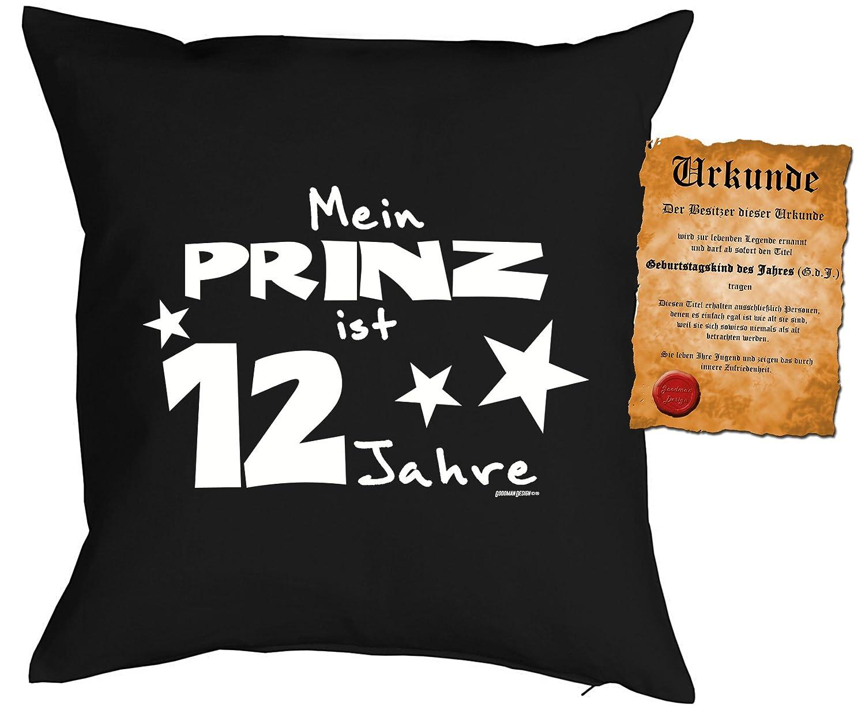 12 Geburtstag Jungen Kissen - Kuschelkissen Kinder : Meine Prinz ist 12 Jahre -- Dekokissen ohne Füllung - Farbe: schwarz Tini Shirts