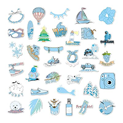 New Vsco Stickers for Water Bottles 35 Pcs Cute Waterproof Vinyl Stickers,Aesthetic Stickers for Hydro Flasks, Laptop Stickers for Teen, Girls, boy (Blue): Kitchen & Dining
