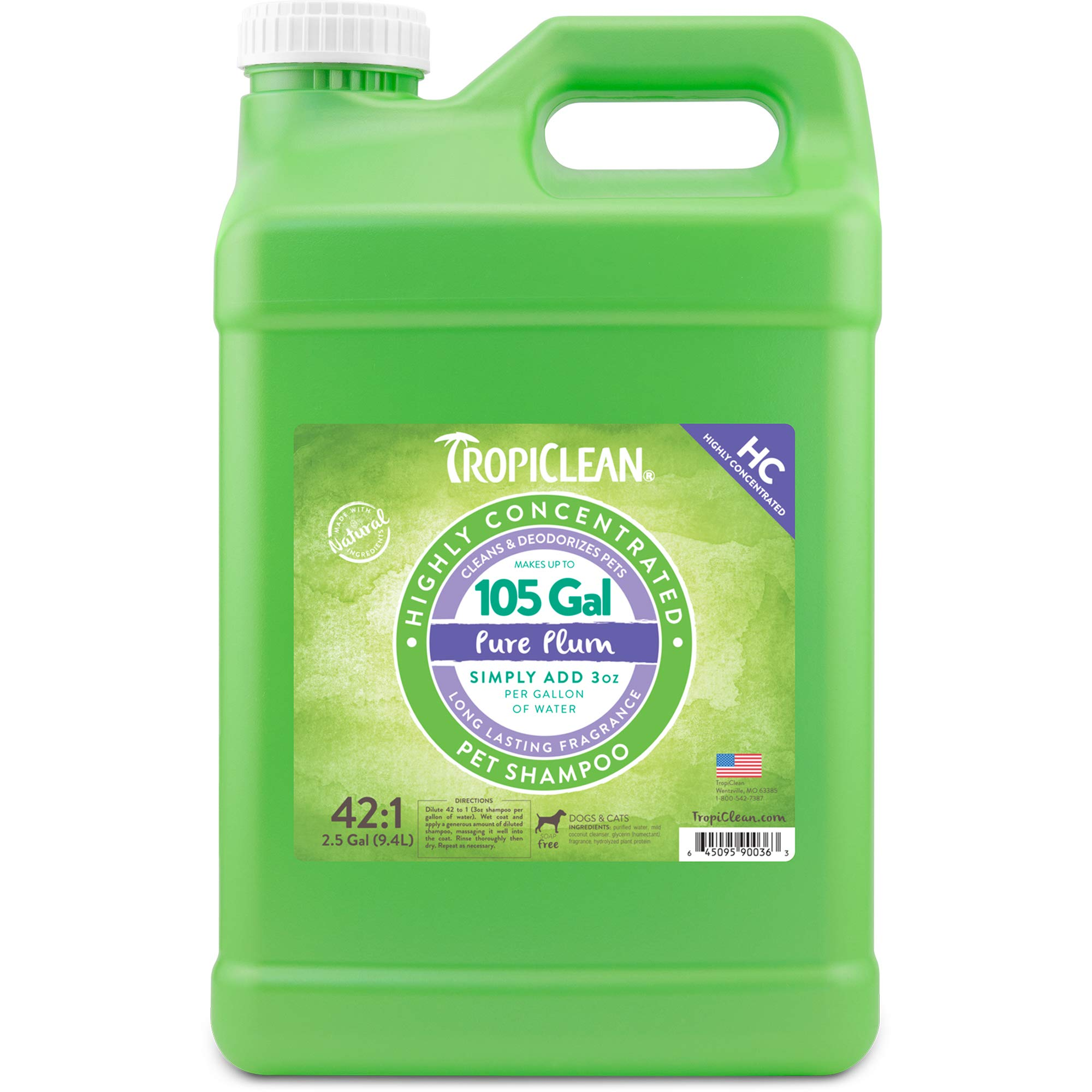 TropiClean Pure Plum High Concentrate Shampoo for Pets, 2.5 gal, Made in USA