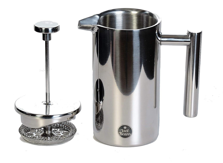 Doppelwandiger Thermo-isolierter Kaffeebereiter Teebereiter 350 ml VietBeans French Press Polierter Edelstahl Pressstempelkanne mit Edler Optik