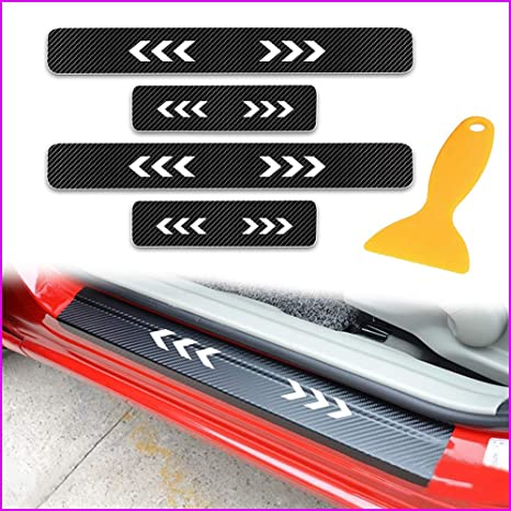 for Nissan Qashqai 4D Carbon Fiber Door Entry Guards Paint Scratch Cover Protector Threshold Trim Stickers White 4Pcs