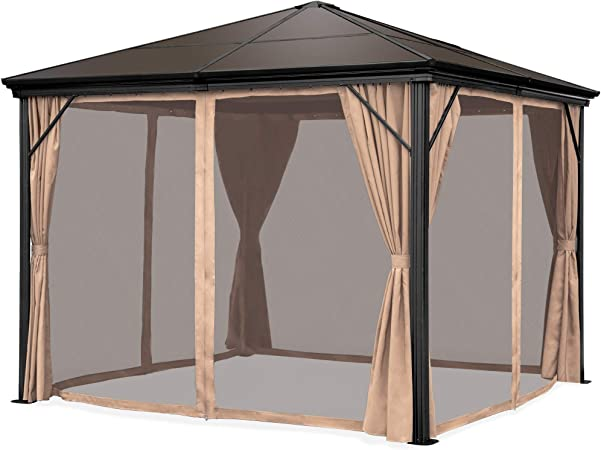 Amazon Com Best Choice Products 10x10ft Outdoor Aluminum Frame Hardtop Gazebo For Backyard Garden W Side Curtains Bug Nets Garden Outdoor