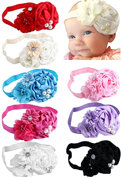 Papiarts Diademas con bandas de pelo con diseño de lazo para recién ...