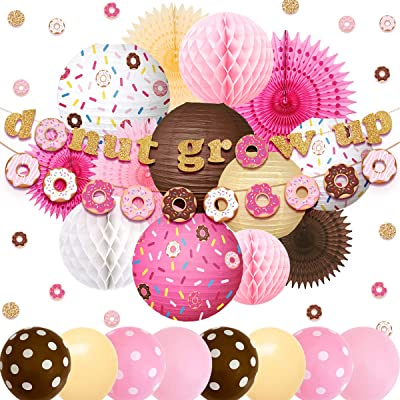 NICROLANDEE Donut Party Supplies Donuts Grow UpBirthday Party BannersBalloonsGlitterConfettiHangingPaperLanternTissue Fans ForBabyShower KidsParty Decor(Pink Chocolate Color): Toys & Games