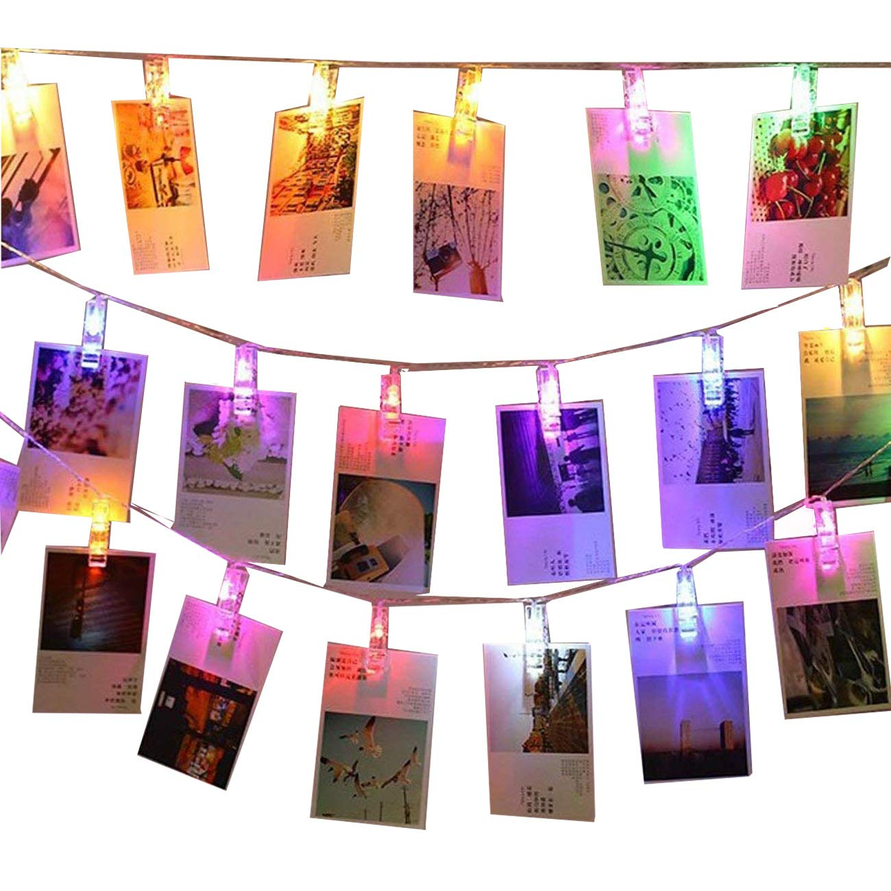 LED Foto Clip Lichterkette, KINGCOO 5M 40 Foto-Clips Batteriebetriebene Stimmungsbeleuchtung Dekoration für Hängendes Foto Memos Kunstwerke (Bunt)