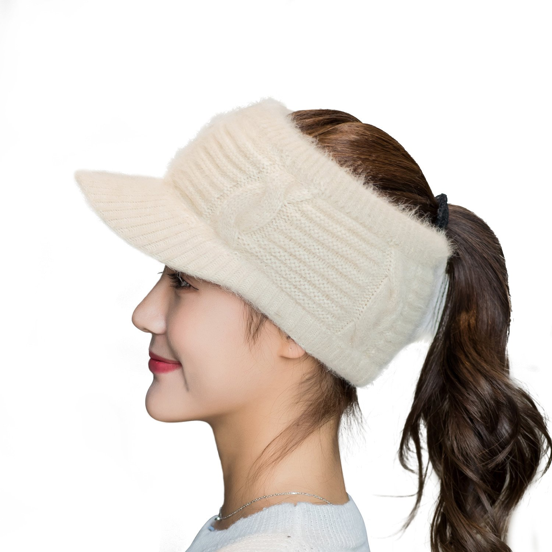 1d5e3a359 Flammi Girl's Fleece Lined Headband Knit Bun Ponytail Beanie with Brim