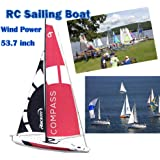 SOWOFA 53.74 Inch RC Sailing Boat Super Huge Unpowered Hobby Remote Control Boat 2.4G 4CH Pre-Assembled Sail Model for Adult Boy Age 14+