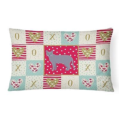 Caroline's Treasures CK5630PW1216 Korat #1 Cat Love Canvas Fabric Decorative Pillow, 12H x16W, Multicolor : Garden & Outdoor