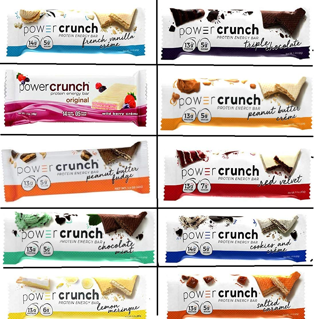 Power Crunch Original Protein Bars, Variety Pack. (Bast Variety Pack of all 10 Flavors, 20 bars) by Power Crunch
