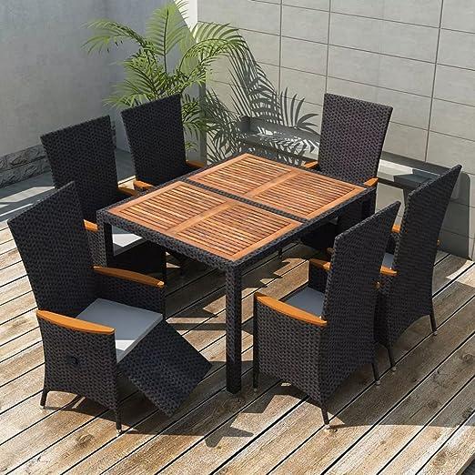Lingjiushopping Muebles de jardin 13 piezas negro poli ratan madera acacia XXL Color de los cojines: Blanco crema: Amazon.es: Jardín