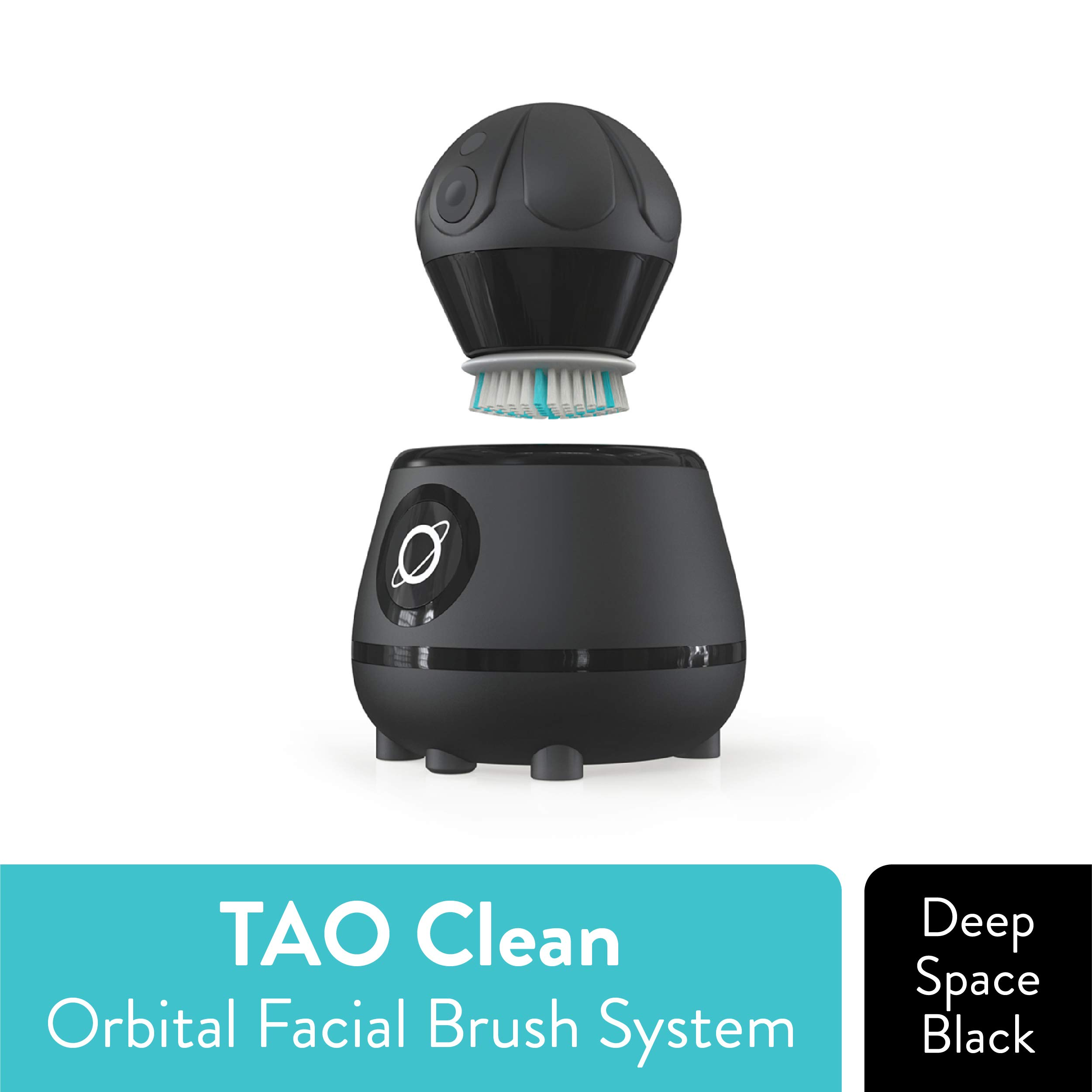 TAO Clean Orbital Facial Brush and Cleansing Station - Deep Space Black - Electric Face Cleansing Brush with Patented Docking Technology, Ergonomic Handle, Dual Speed Settings by Tao Clean
