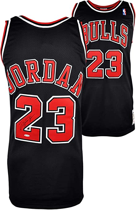 b4ae9d3cc Michael Jordan Chicago Bulls Autographed Mitchell   Ness Black Jersey -  Fanatics Authentic Certified