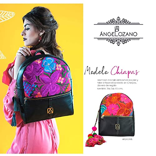 Amazon.com: Black Chiapas model leather Bag with Artisan Embroidery. Original AngeLozano Brand. 10.24 x 3.94 x 13.39 inches: Handmade