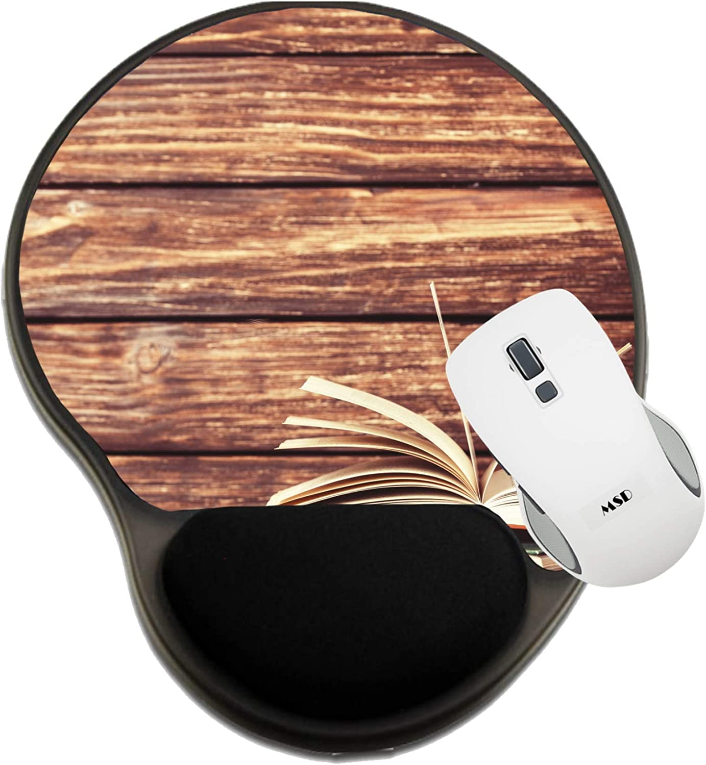 MSD Mousepad Wrist Rest Protected Mouse Pads Vintage Old Books on Wooden Table 29374971 Mat with Wrist Support