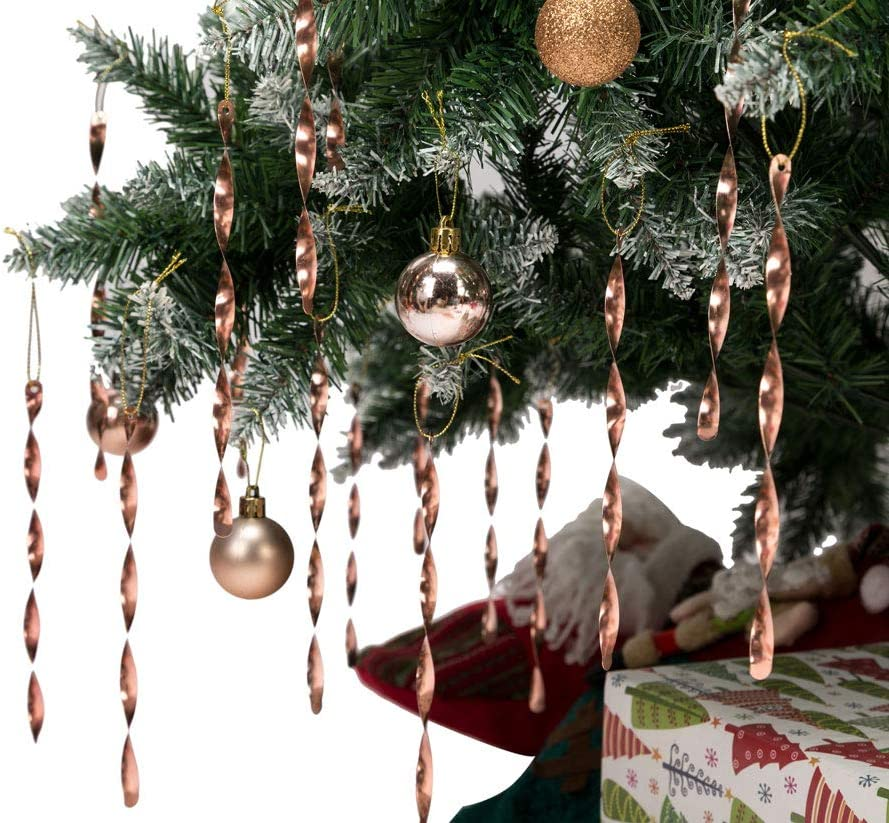 Amazon Com Ams Christmas Tree Ornaments 7 Aluminum Spiral Strip Hangings 24pcs Ornaments Box Set Icicles Twisted Decorations For Any Holiday Party Wedding Accessories Champagne Furniture Decor