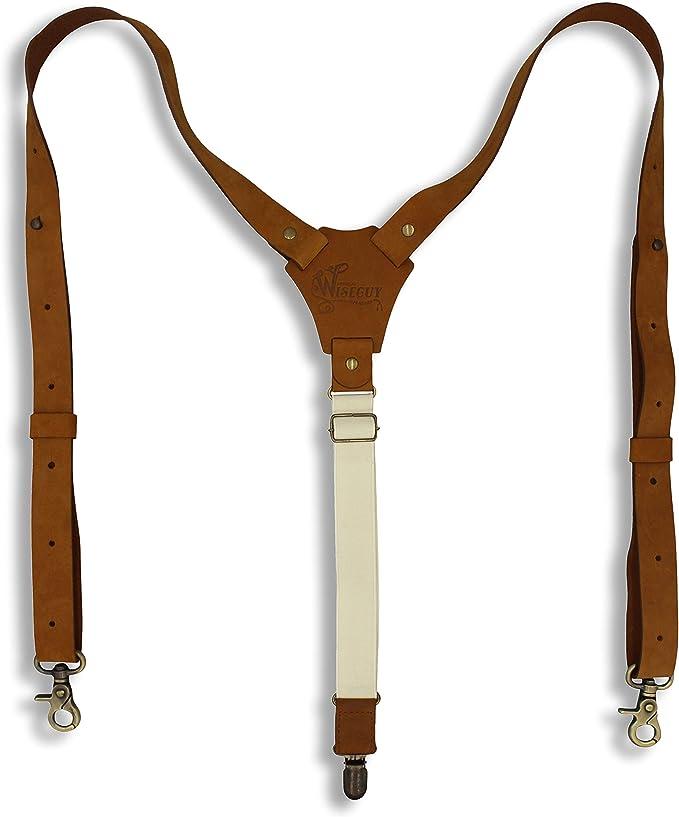 Bretelles Homme Larges 3 clips KANGDAI Bracelets Brace men en cuir v/éritable Y Retour Durable Wide Elastic Straps Braces for Trousers Vert fonc/é