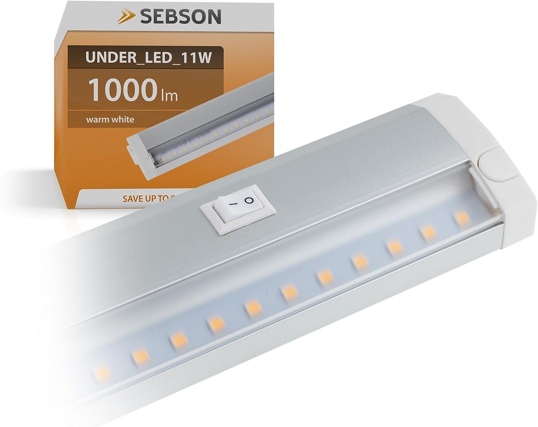 SEBSON – ® LED Lámpara Bajo Armario 60 cm barra de luz, 11 W, 1000lm, Blanco cálido, ampliable: Amazon.es: Iluminación