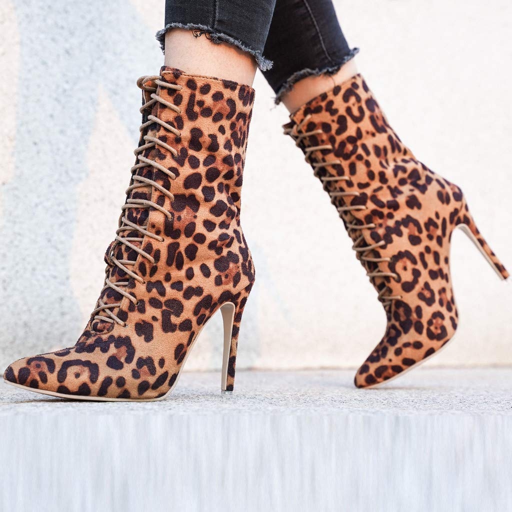 Gleamfut Womens Stiletto Boots Fashion Leopard Printed Snake Printed Casual Rome Lace-Up High Heel Boots
