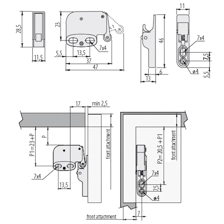 Acero Galvanizado Placa de Sujeci/ón 50 x SO-TECH/® Pestillo de Puerta Cierre de Pression Cerradura Puerta Mini Latch incl Versi/ón mejorada