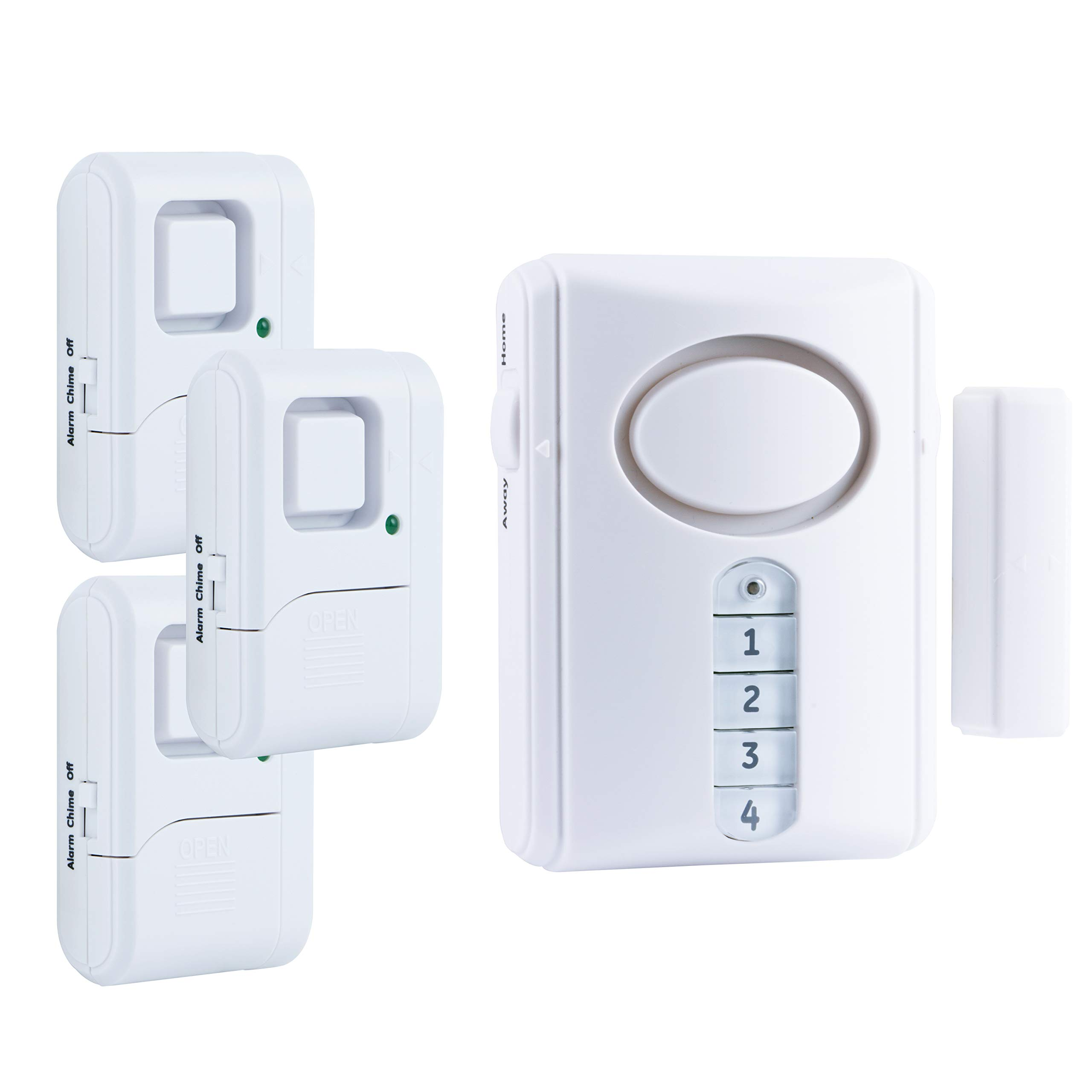 GE Personal Security Alarm Kit, Includes Deluxe Door Alarm with Keypad Activation and Window/Door Alarms, Easy Installation, DIY Home Protection, Burglar Alert, Magnetic Sensor, Off/Chime/Alarm, 51107 by GE
