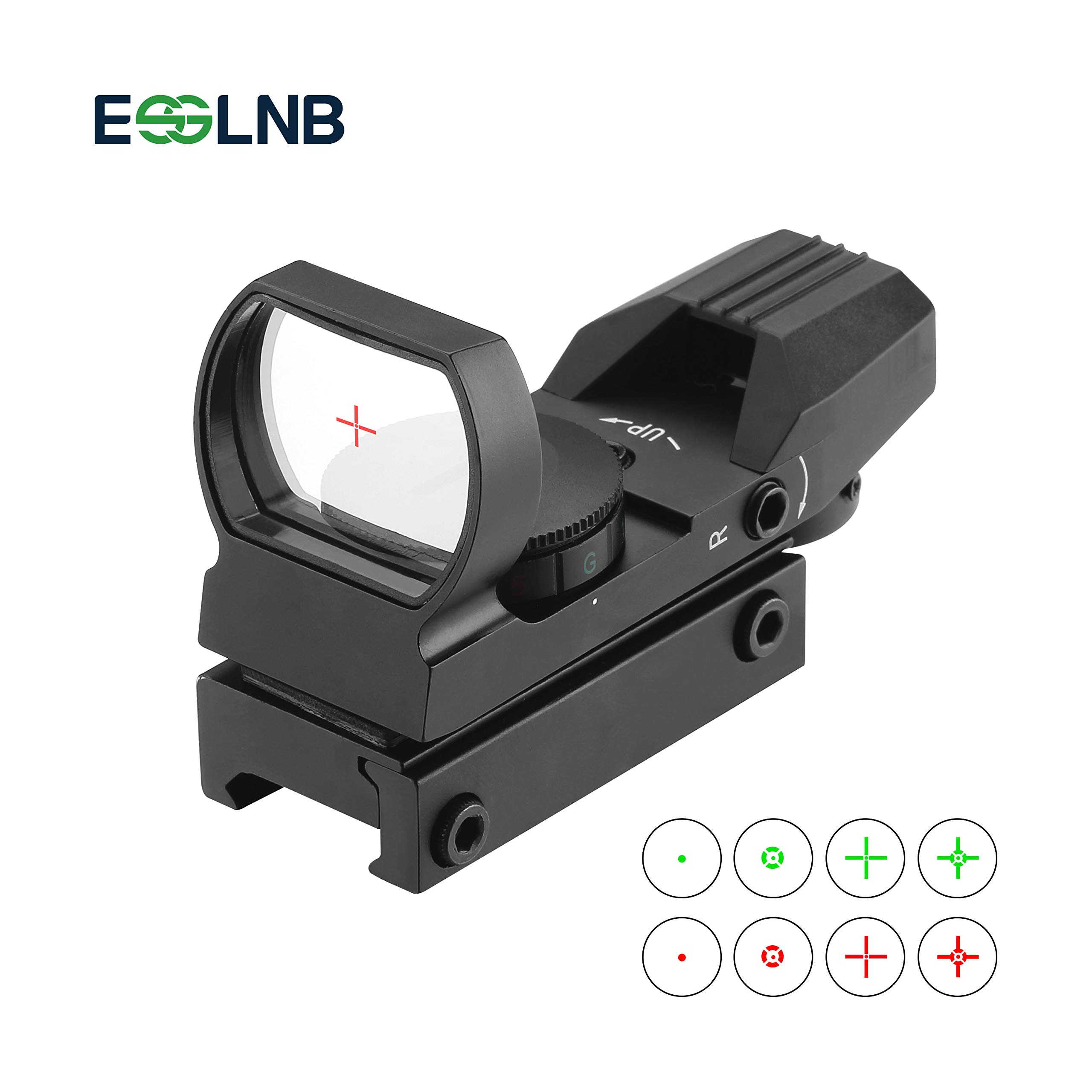 ESSLNB Red Dot Scope 4 Reticles Gun Sight Scope Reflex Sight for Airsoft Guns Pistol Shotgun with 20/22mm Weaver Picatinny Rail Mount (Black Sight Scope) by ESSLNB
