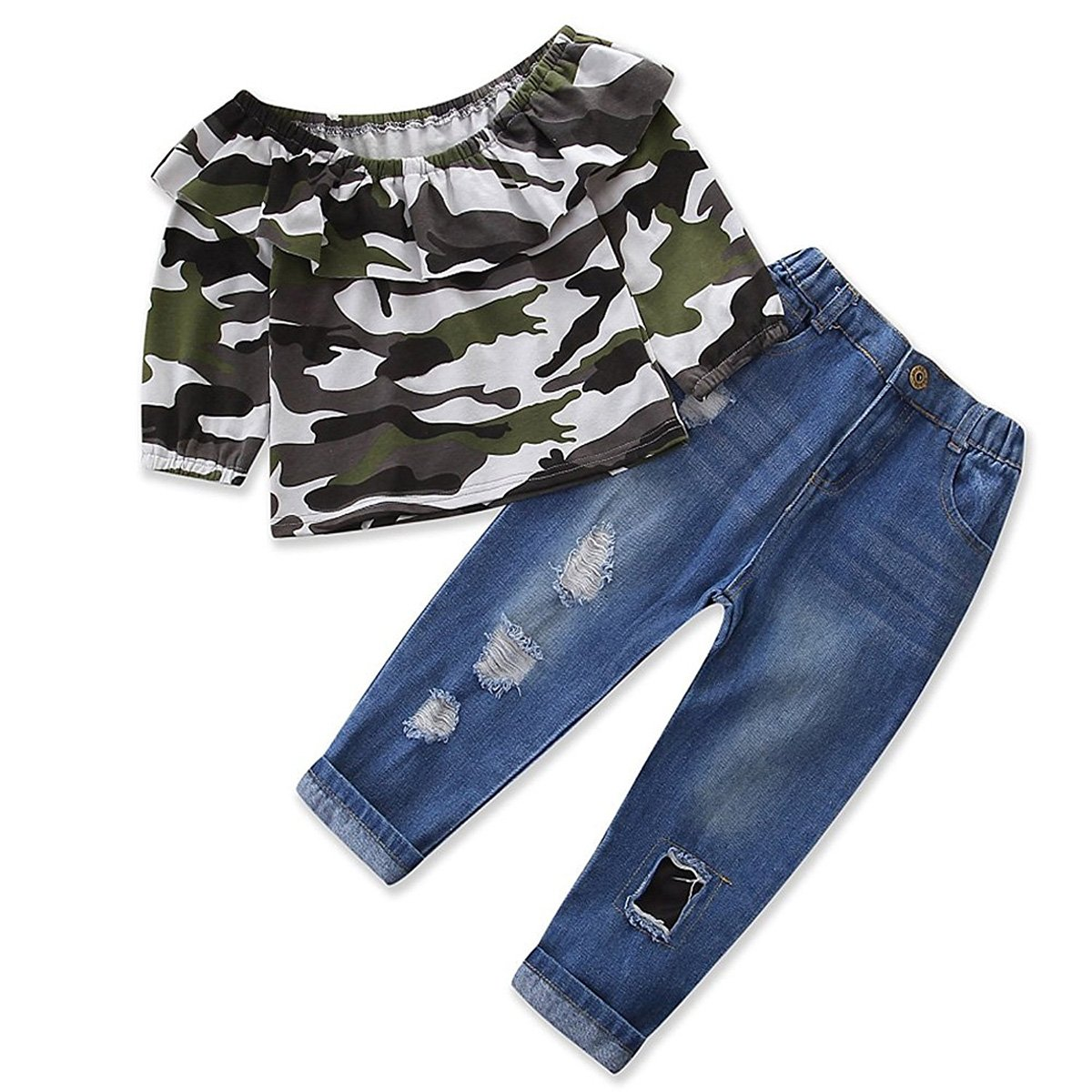 Baby Girls Camouflage Outfits Kids Ruffle T Shirt Denim Long Jeans Clothing Set