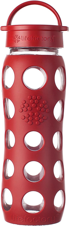 Lifefactory 13573 - Botella de Cristal (650 ml), Color Rojo