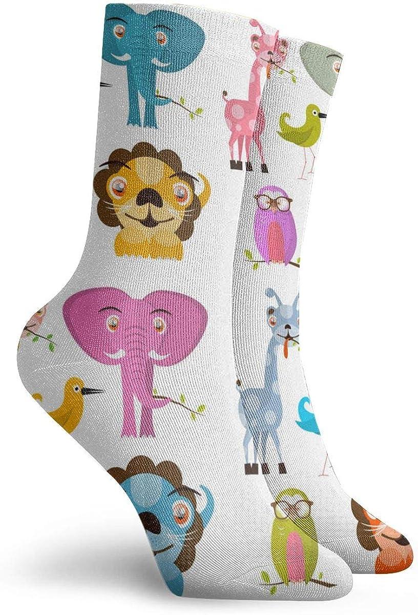 Giraffe Owl Bird Lion And Elep/_11584 Painting Art Printed Funny Novelty Animal Casual Cotton Crew Socks 11.8inch Animals Set