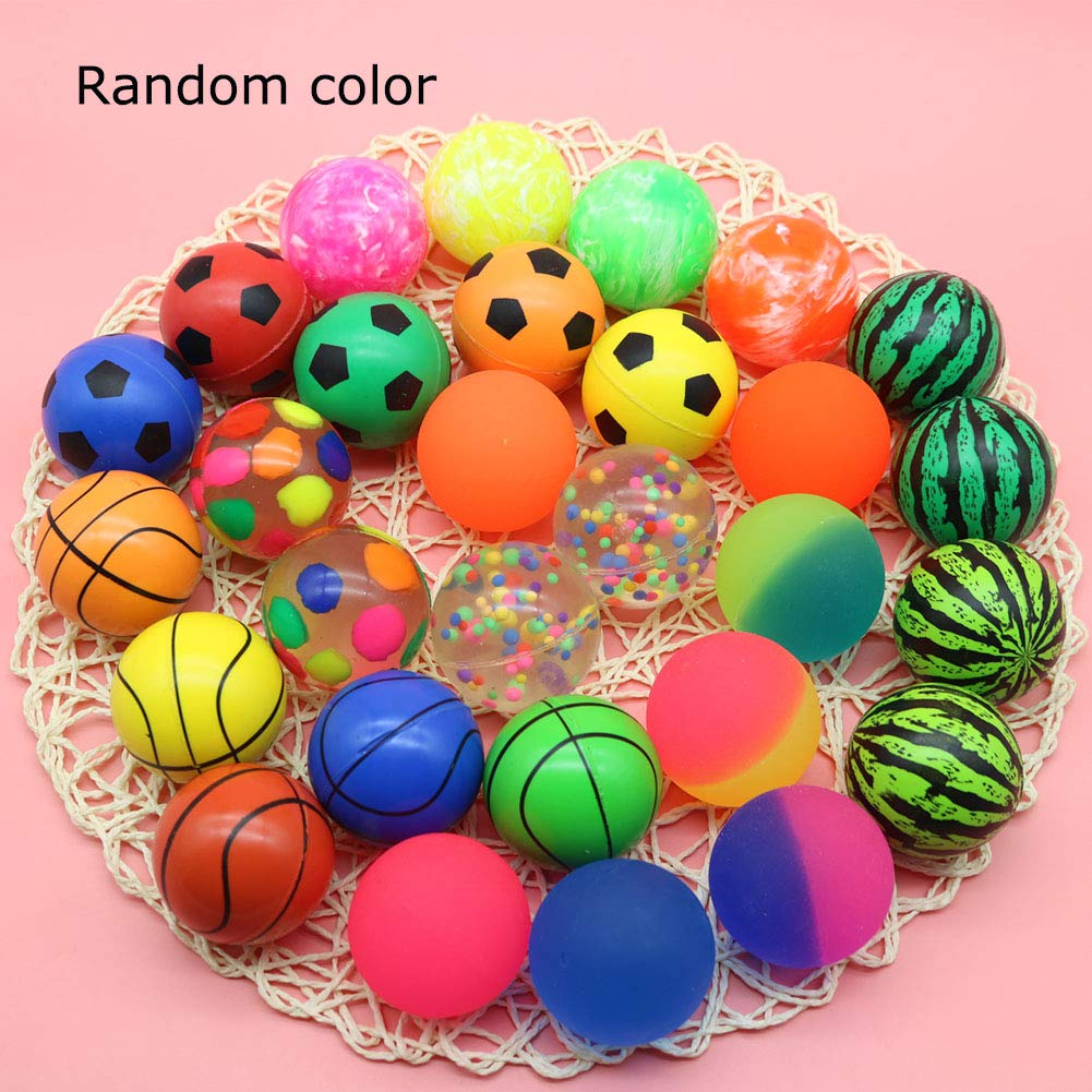 Jatidne 24 Pieces Bouncy Balls Party Bags Fillers Colorful Bouncing Balls for Kids School Prize Festival Gifts 1.1 Inches Diameter