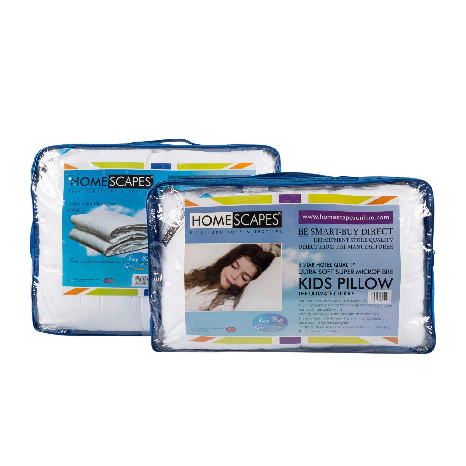 Homescapes - Kids - Duvet & Pillow Set - 10.5 Tog - Super Microfibre Filling - 120 x 150 cm , 40 x 60 cm - Extremely Soft 5 Star Hotel Quality - Anti Dust mite Anti Allergen Filling - Washable at Home - Firmness rating SOFT